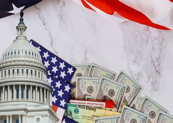 Marble slab superimposed with US capitol building, the US flag, and ten $100 bills