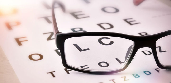 Pair of glasses sitting on top of a vision test chart